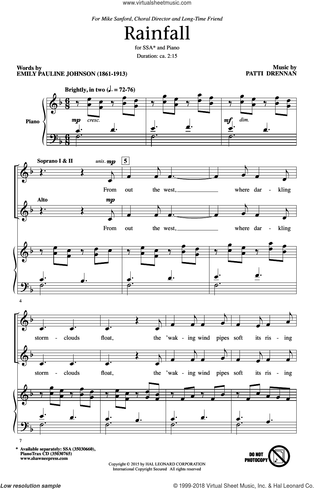 Rainfall sheet music for choir (SSA: soprano, alto) by Patti Drennan and Emily Pauline Johnson, intermediate skill level
