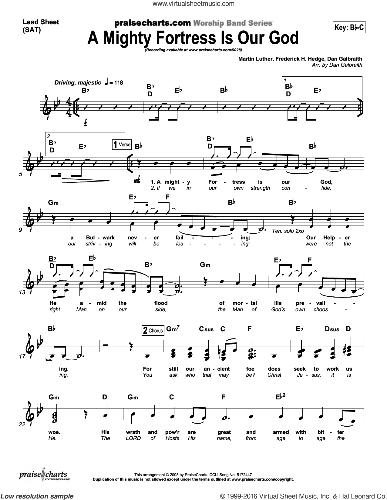 A Mighty Fortress Is Our God sheet music for voice and other instruments (fake book) by Dan Galbraith, intermediate skill level