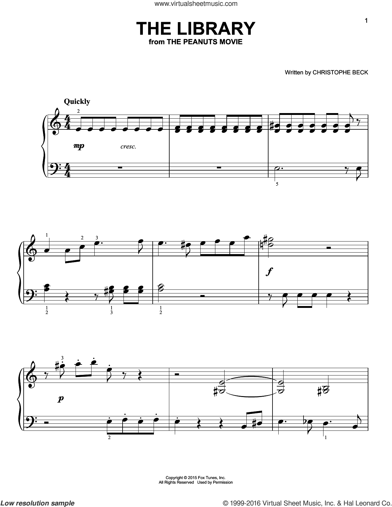 The Library sheet music for piano solo by Christophe Beck, easy skill level
