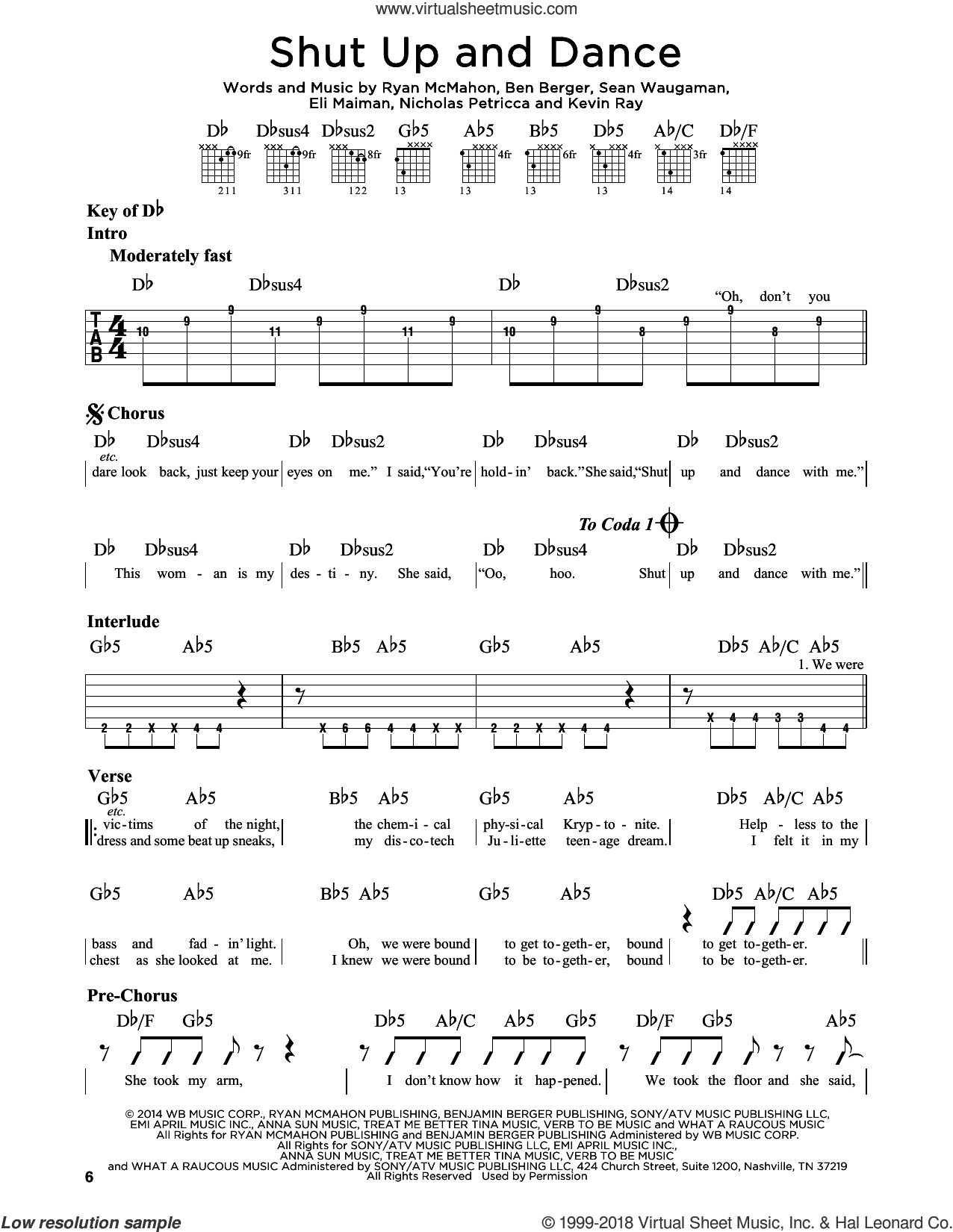 Shut Up And Dance sheet music for guitar solo (lead sheet) by Walk The Moon, Kevin Ray, Nicholas Petricca, Ryan McMahon and Sean Waugaman, intermediate guitar (lead sheet). Score Image Preview.