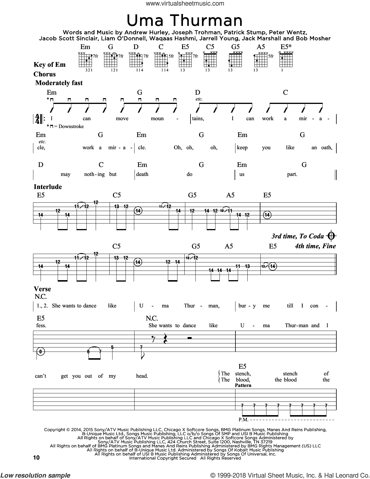 Uma Thurman sheet music for guitar solo (lead sheet) by Waqaas Hashmi, Fall Out Boy, Andrew Hurley, Jack Marshall and Peter Wentz. Score Image Preview.