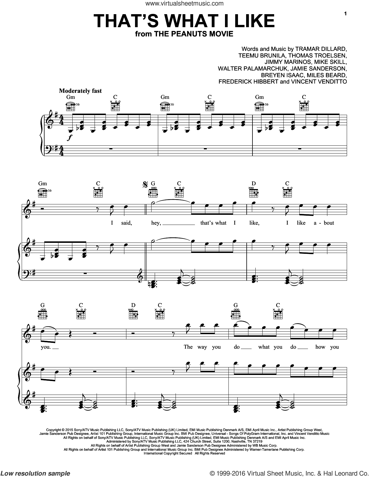That's What I Like sheet music for voice, piano or guitar by Flo Rida, Christophe Beck, Breyan Isaac, Frederick Hibbert, Jamie Sanderson, Jimmy Marinos, Mike Skill, Miles Beard, Teemu Brunila, Thomas Troelsen, Tramar Dillard, Vincent Venditto and Walter Palamarchuk, intermediate skill level