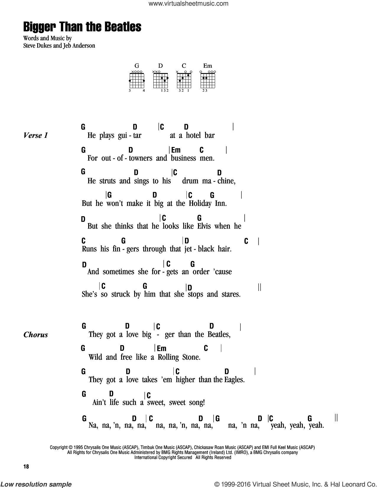 Bigger Than The Beatles sheet music for guitar (chords) by Steve Dukes, intermediate guitar (chords). Score Image Preview.