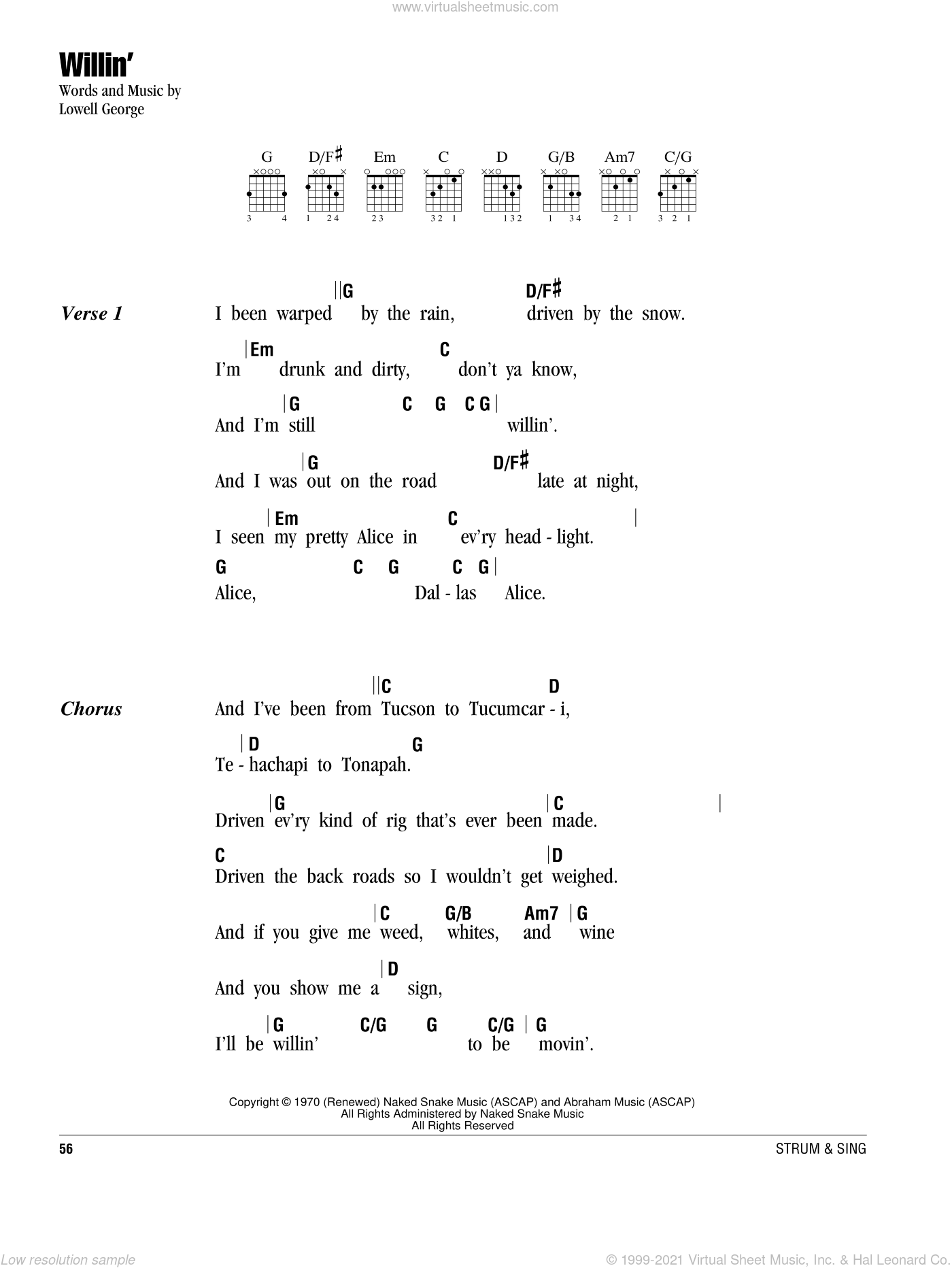 Feat Willin Sheet Music For Guitar Chords Pdf