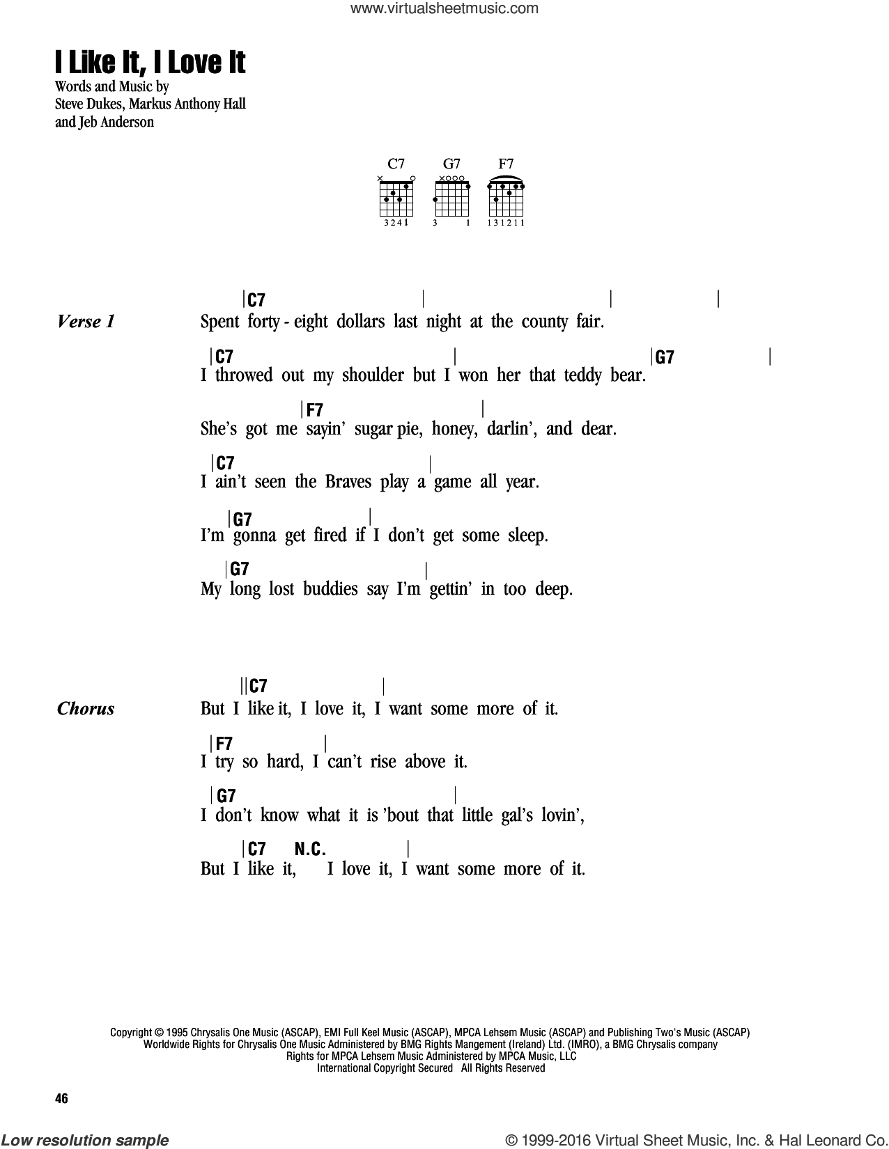 I Like It, I Love It sheet music for guitar (chords) by Tim McGraw, Jeb Anderson, Markus Anthony Hall and Steve Dukes, intermediate
