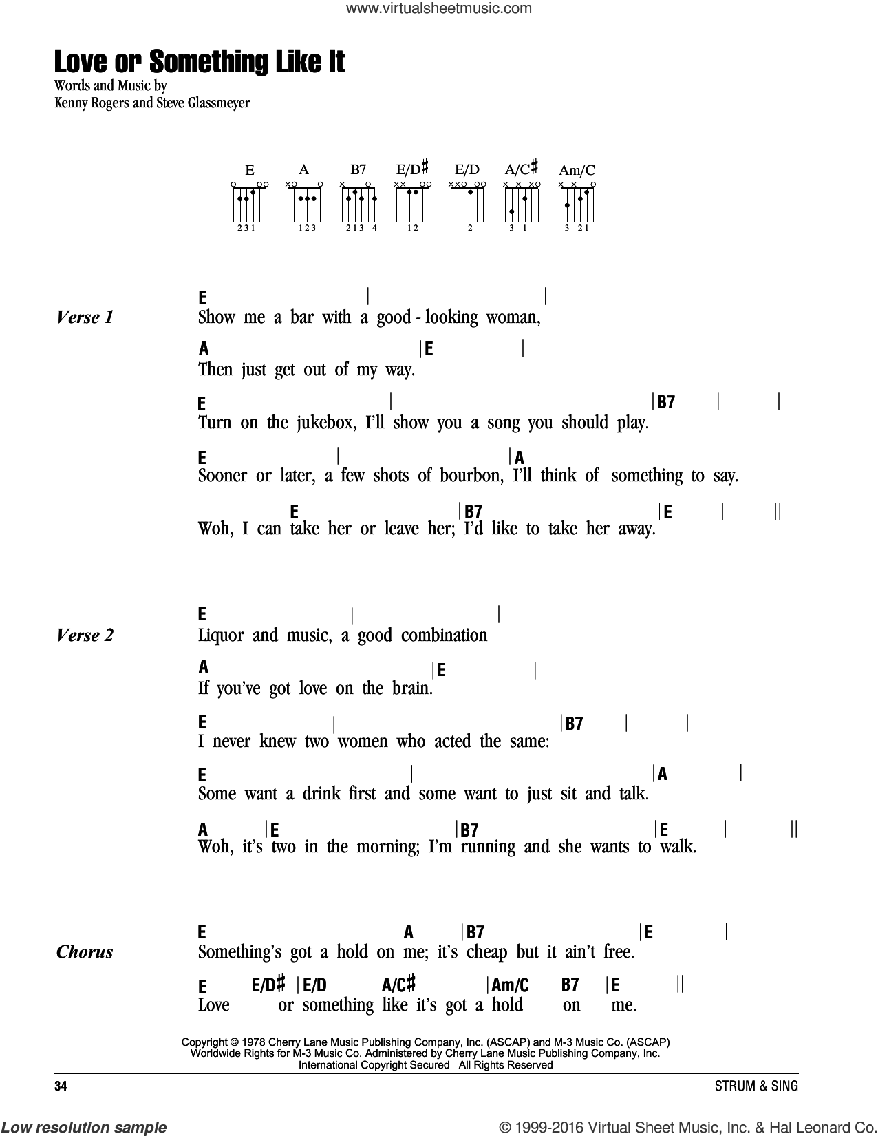Love Or Something Like It sheet music for guitar (chords) by Kenny Rogers and Steve Glassmeyer, intermediate skill level