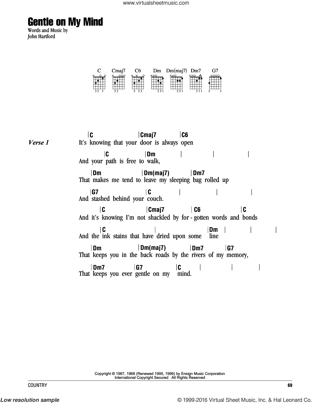 Gentle On My Mind sheet music for guitar (chords) by John Hartford and Glen Campbell. Score Image Preview.