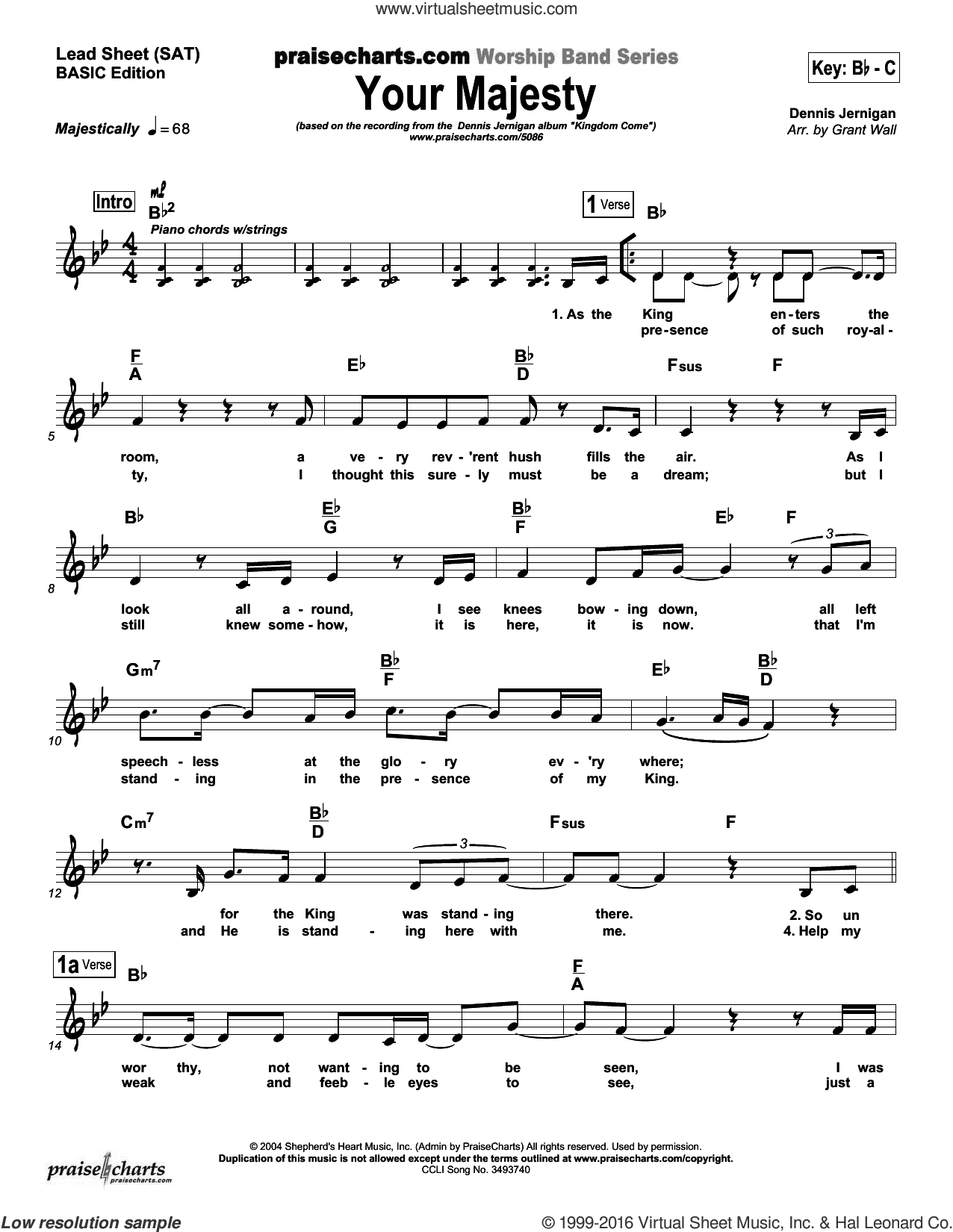 Your Majesty sheet music for voice and other instruments (fake book) by Dennis Jernigan and Brad Henderson. Score Image Preview.
