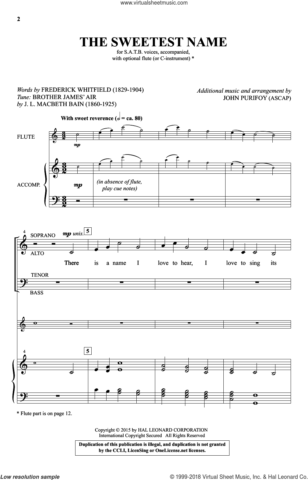 The Sweetest Name sheet music for choir by John Purifoy and Frederick Whitfield, intermediate. Score Image Preview.