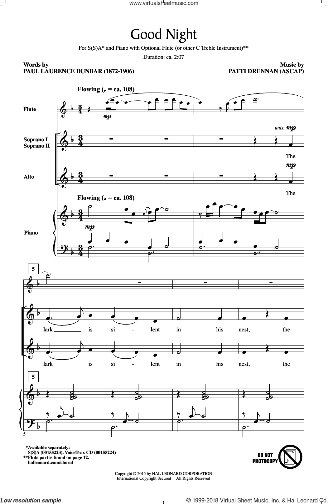 Good Night sheet music for choir and piano by Patti Drennan. Score Image Preview.