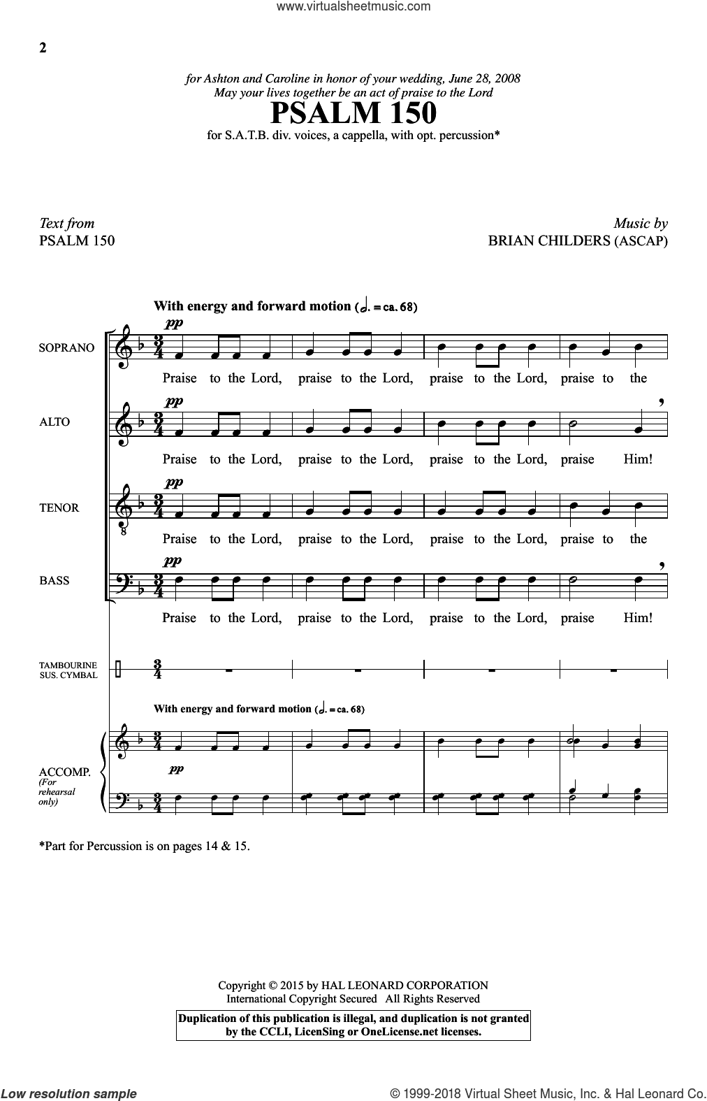 Psalm 150 sheet music for choir (SATB: soprano, alto, tenor, bass) by Brian Childers and Psalm 150, intermediate skill level
