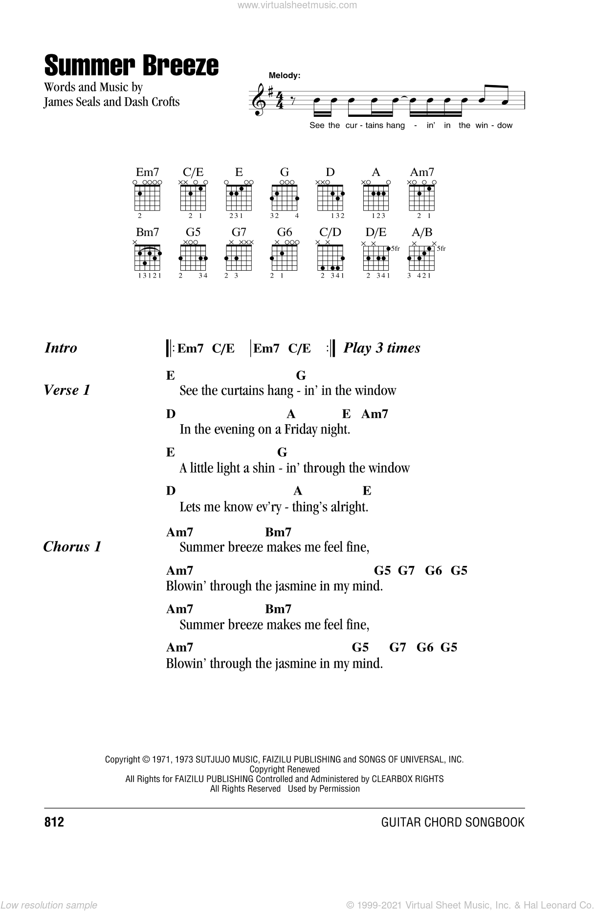 Summer Breeze sheet music for guitar (chords) by Seals & Crofts, Dash Crofts and James Seals, intermediate skill level