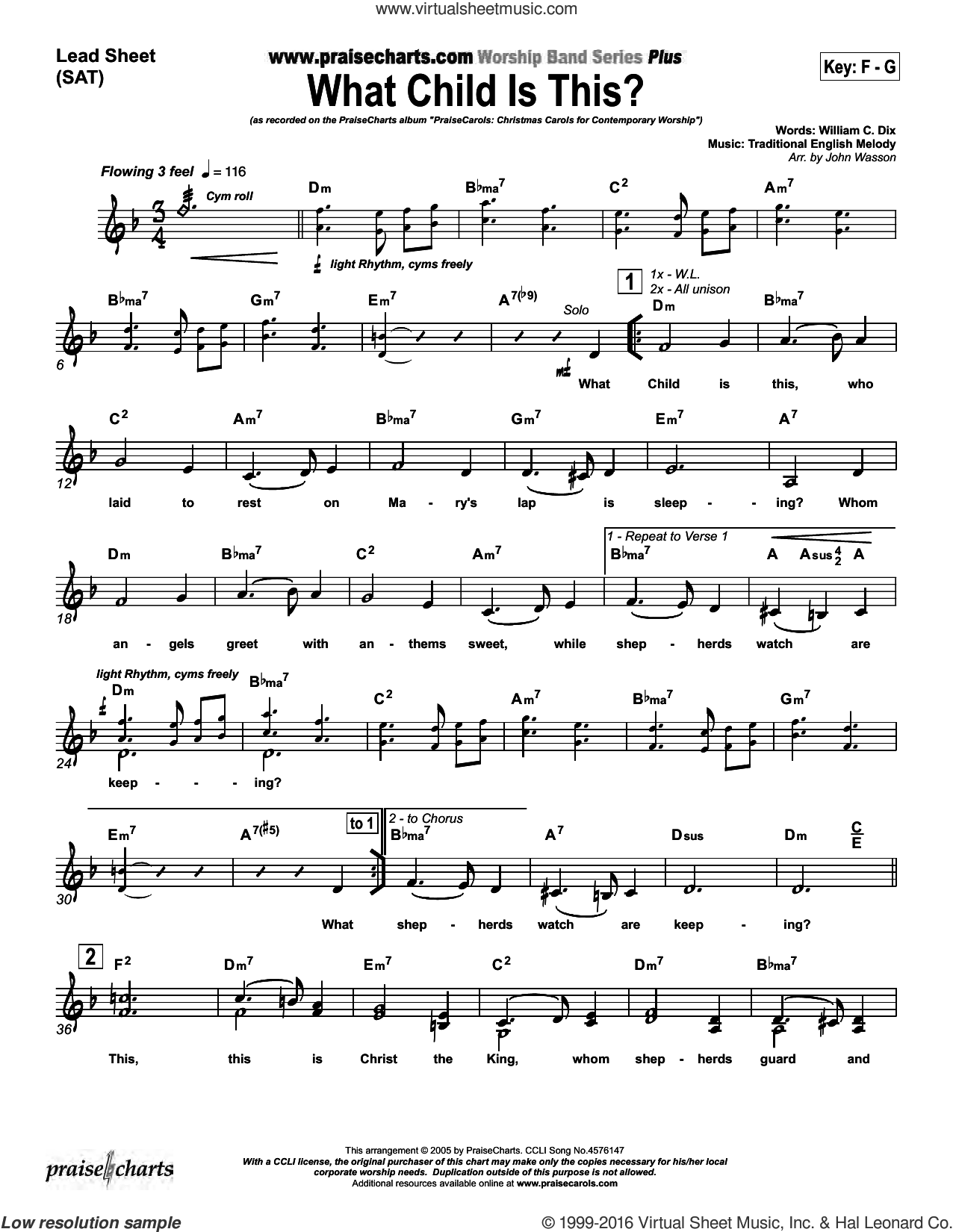 What Child Is This sheet music for voice and other instruments (fake book) by John Wasson and William Dix, intermediate skill level