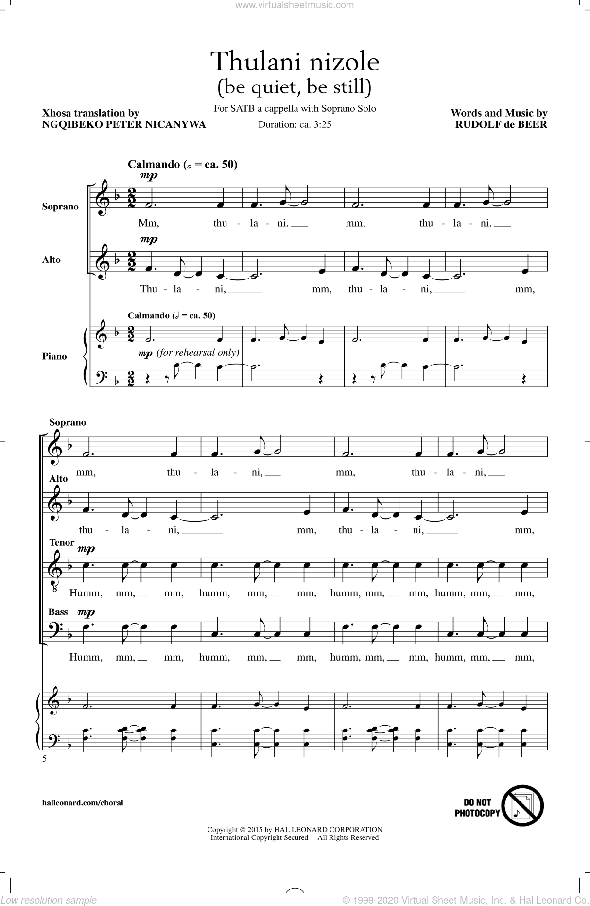Thulani Nizole sheet music for choir and piano (SATB) by Rudolf de Beer. Score Image Preview.