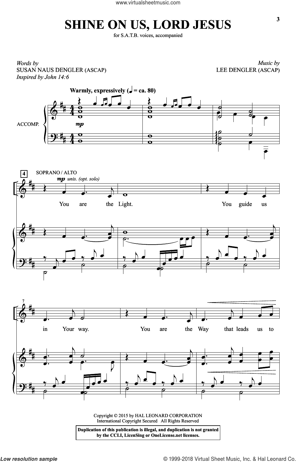 Shine On Us, Lord Jesus sheet music for choir and piano (SATB) by Susan Naus Dengler and Lee Dengler. Score Image Preview.