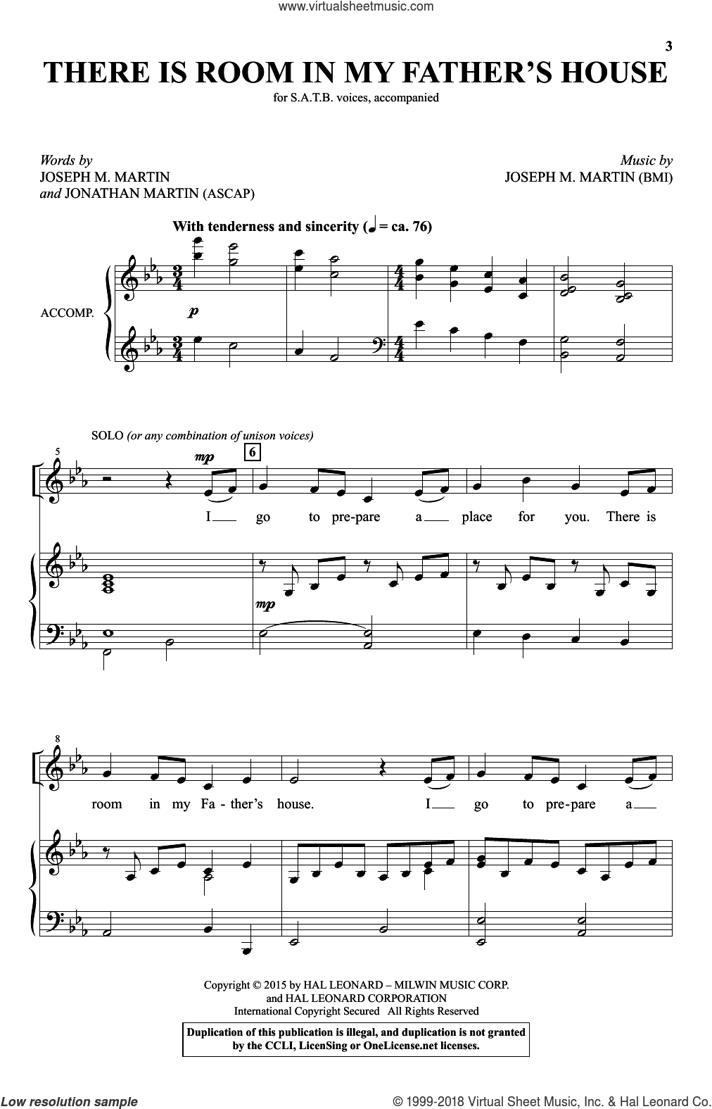 There Is Room In My Father's House sheet music for choir (SATB) by Joseph M. Martin, intermediate. Score Image Preview.