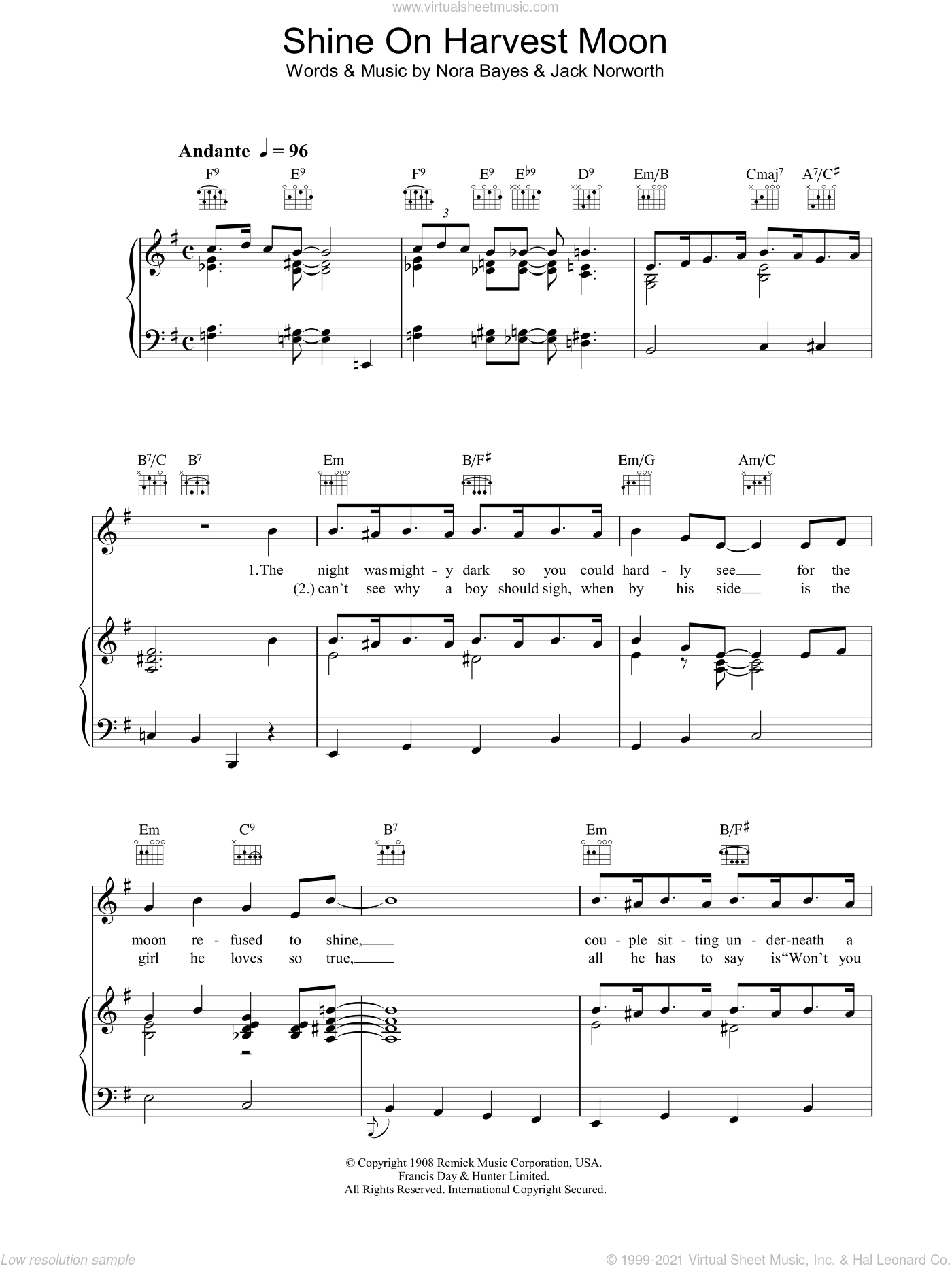 Shine On Harvest Moon sheet music for voice, piano or guitar by Nora Bayes and Jack Norworth, intermediate skill level