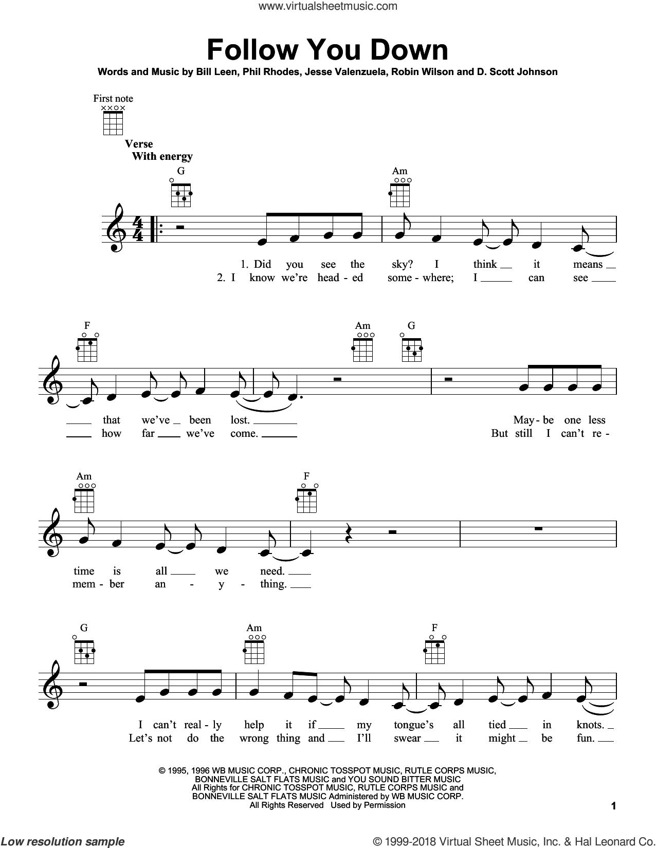 Follow You Down sheet music for ukulele by Gin Blossoms, Bill Leen, D. Scott Johnson, Jesse Valenzuela, Phil Rhodes and Robin Wilson, intermediate skill level