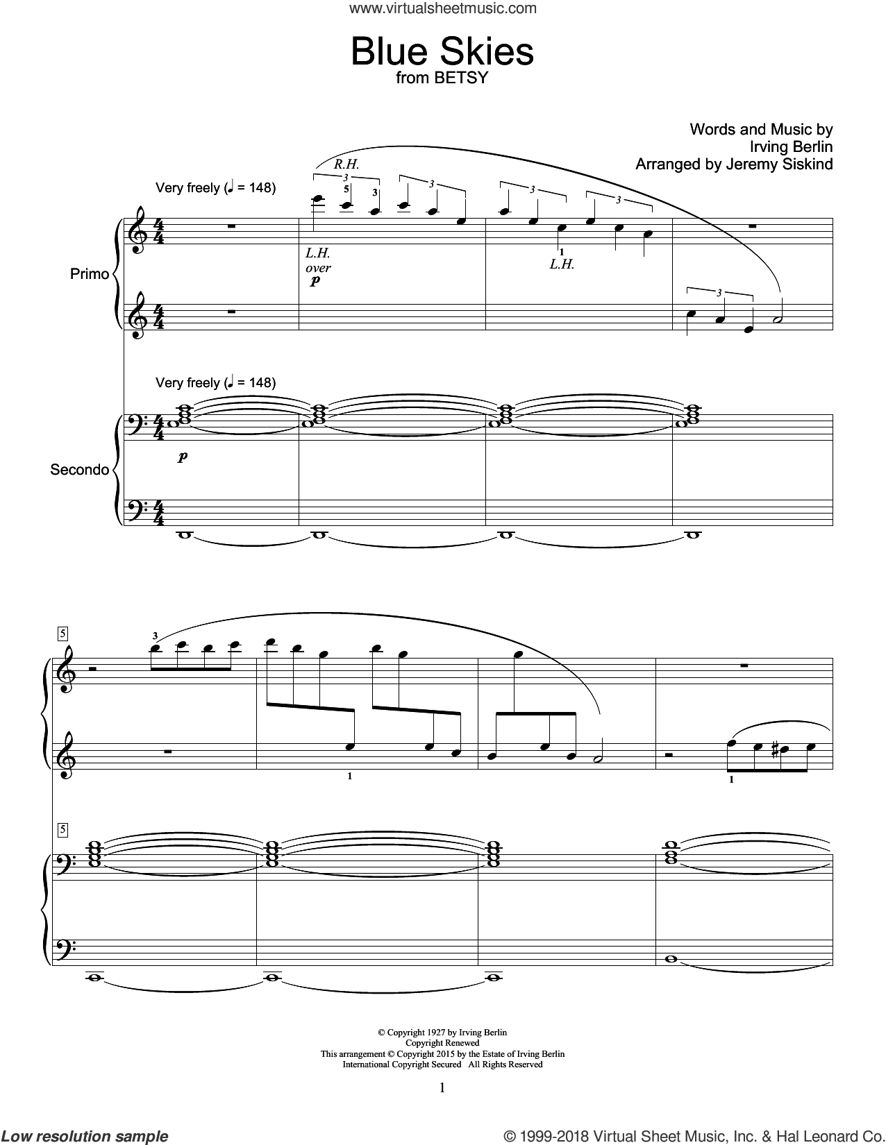Blue Skies sheet music for piano four hands by Irving Berlin and Willie Nelson, intermediate skill level