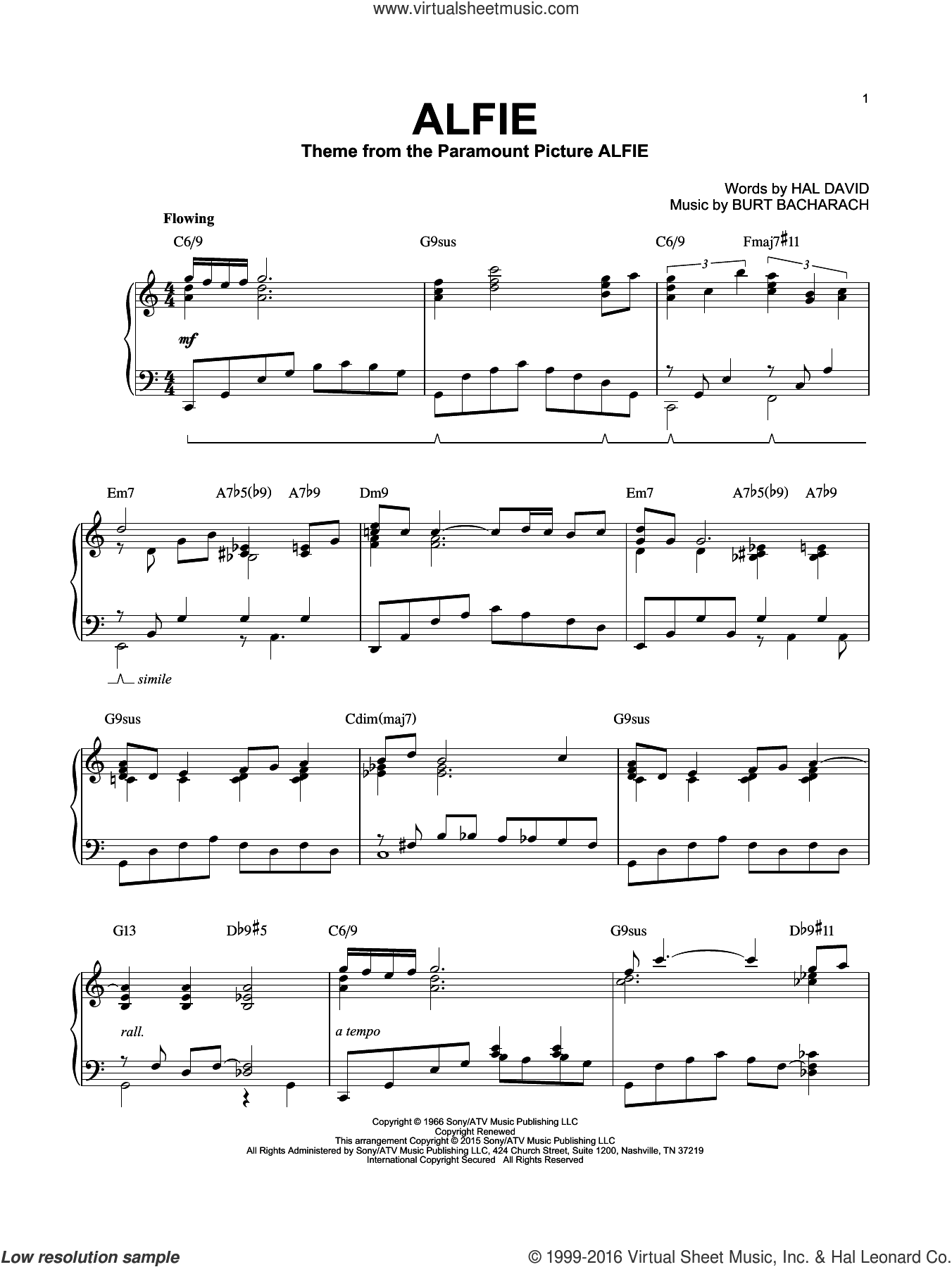 Alfie [Jazz version] (arr. Brent Edstrom) sheet music for piano solo by Bacharach & David, Cher, Dionne Warwick, Sonny Rollins, Stevie Wonder, Burt Bacharach and Hal David, intermediate skill level