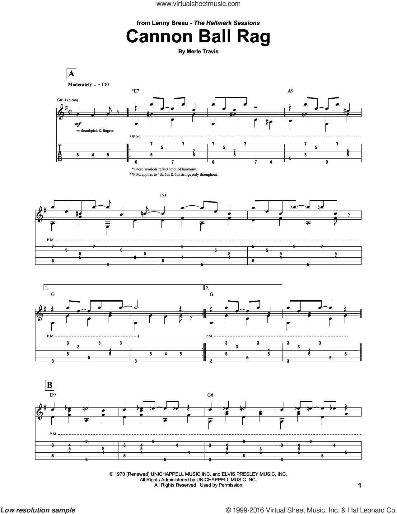 Cannon Ball Rag sheet music for guitar (tablature) by Lenny Breau and Merle Travis. Score Image Preview.