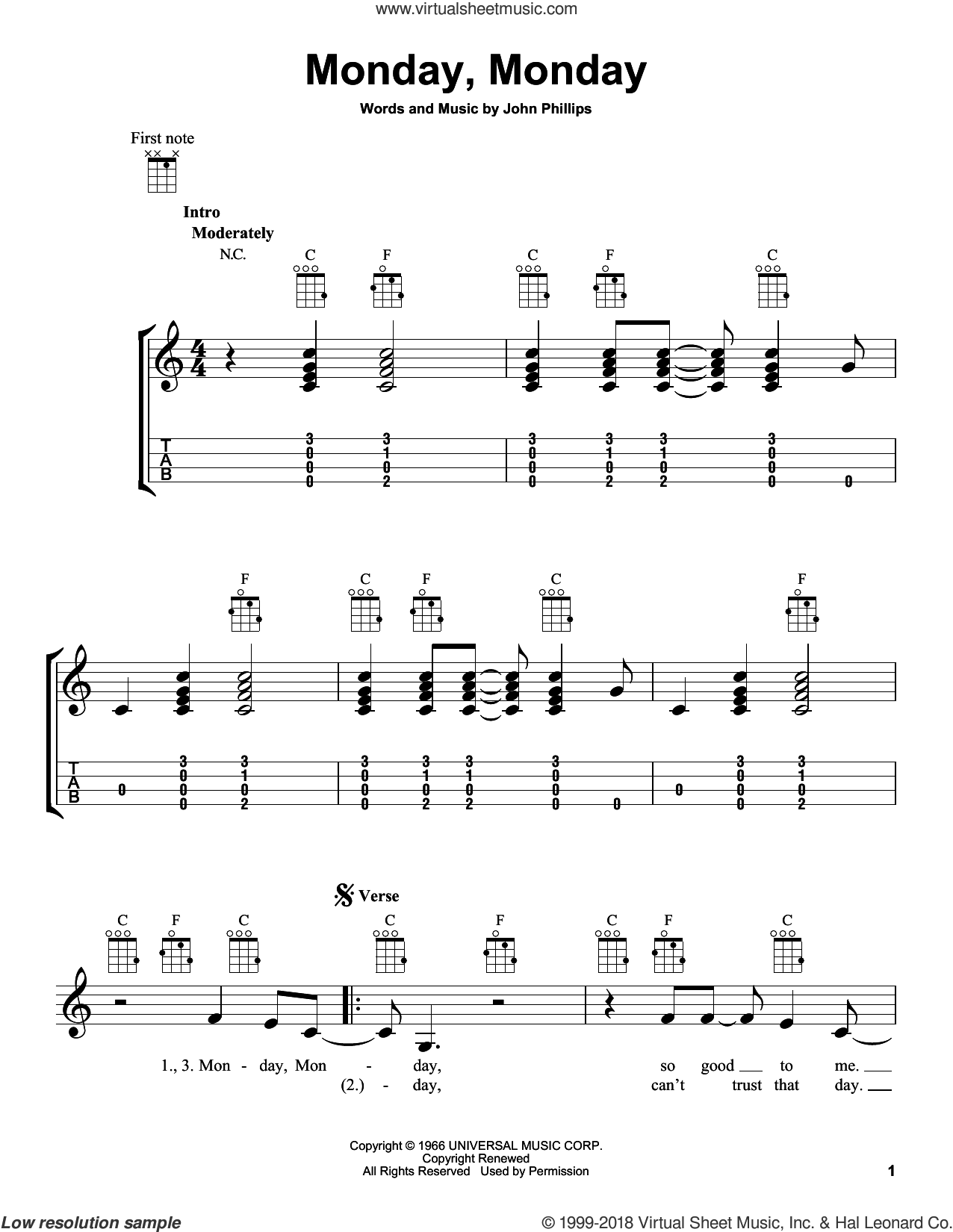 Monday, Monday sheet music for ukulele by The Mamas & The Papas and John Phillips, intermediate skill level