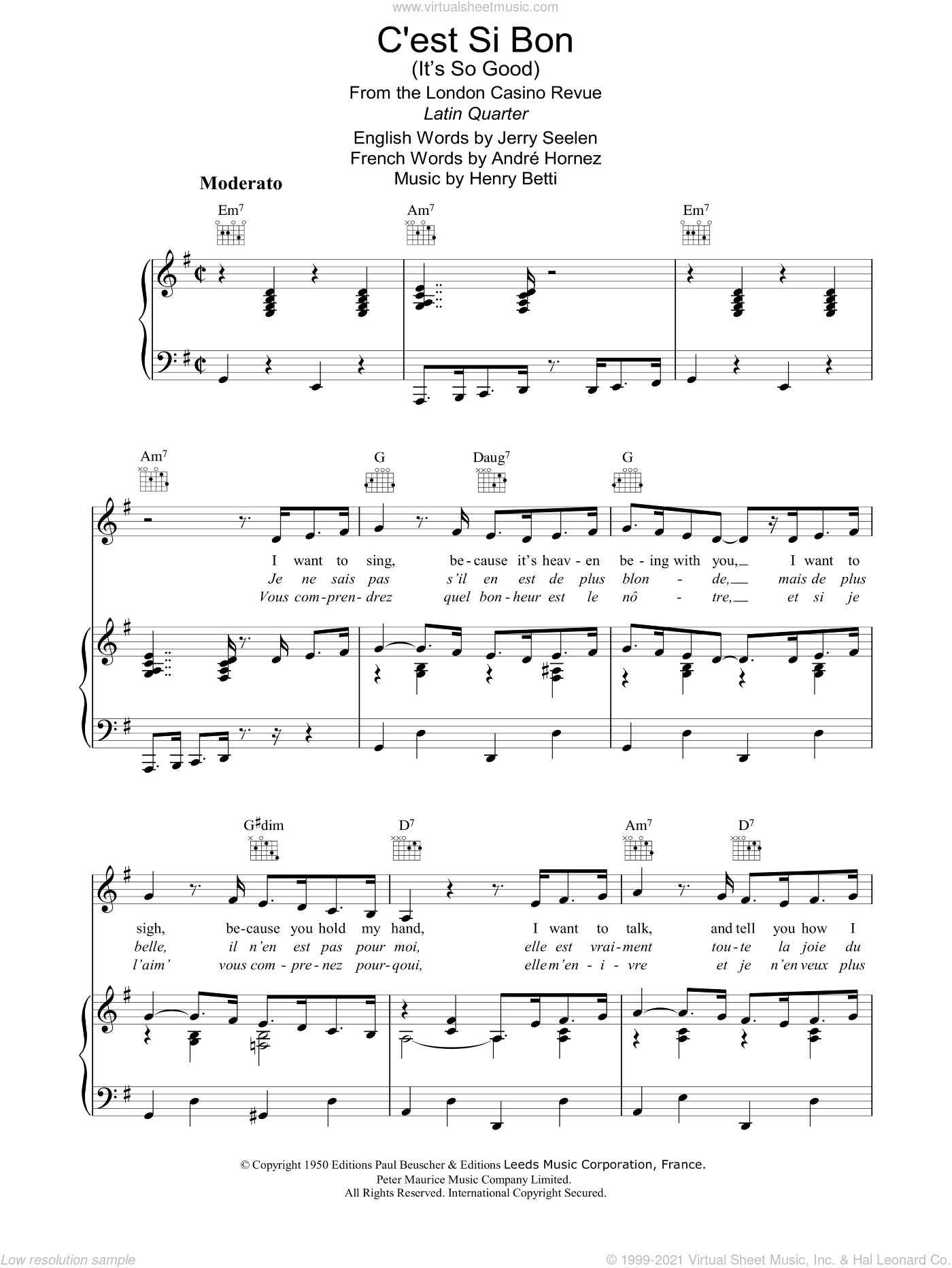 C'est Si Bon sheet music for voice, piano or guitar by Jerry Seelen
