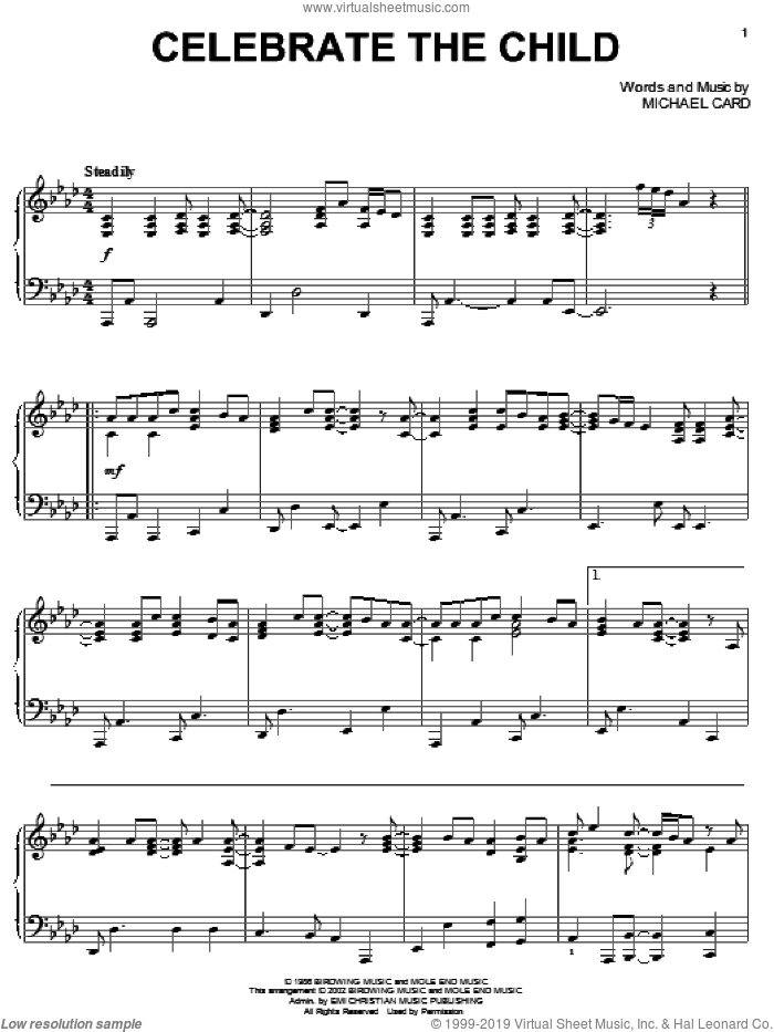 Celebrate The Child sheet music for piano solo by Michael Card, intermediate. Score Image Preview.