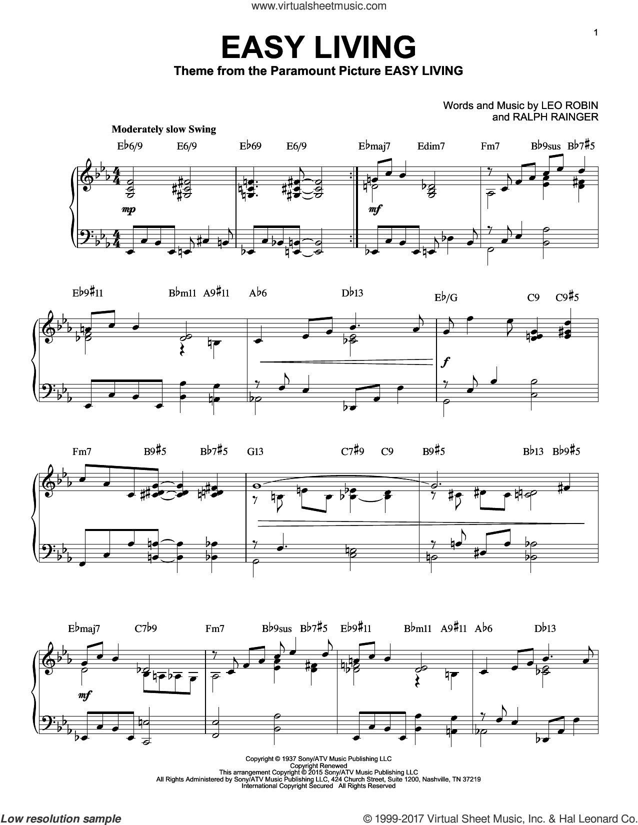 Easy Living [Jazz version] (arr. Brent Edstrom) sheet music for piano solo by Billie Holiday, Leo Robin and Ralph Rainger, intermediate skill level