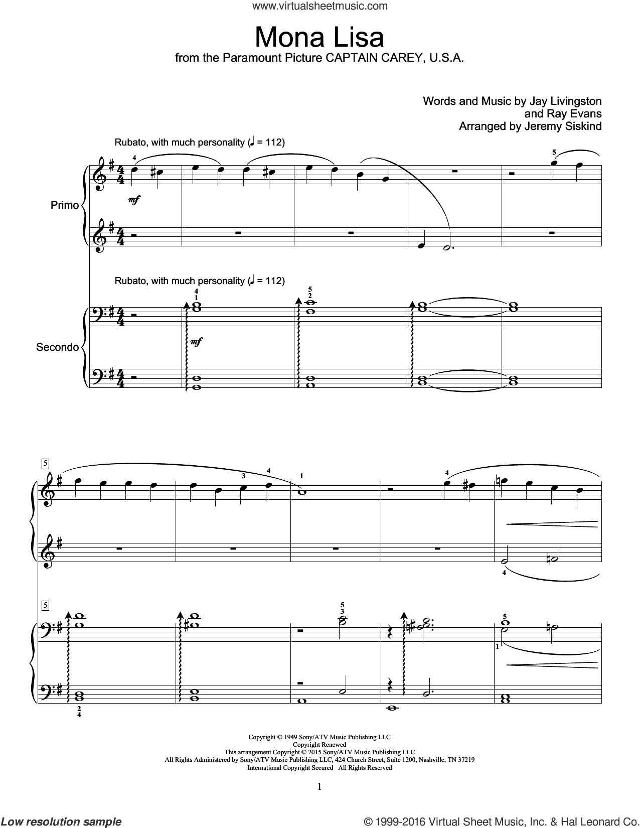 Mona Lisa sheet music for piano four hands by Nat King Cole, Jay Livingston and Ray Evans, intermediate skill level