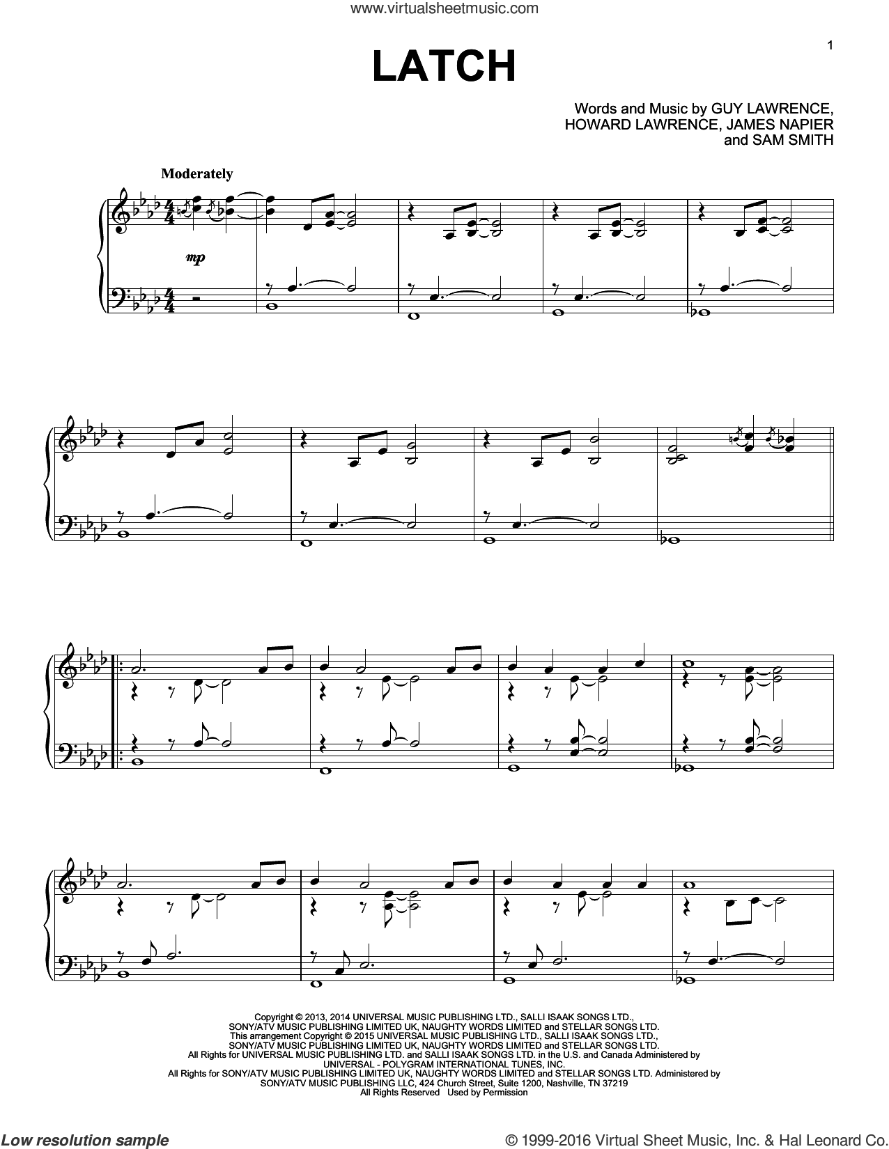 Latch sheet music for piano solo by Disclosure feat. Sam Smith, Guy Lawrence, Howard Lawrence, James Napier and Sam Smith, wedding score, intermediate skill level