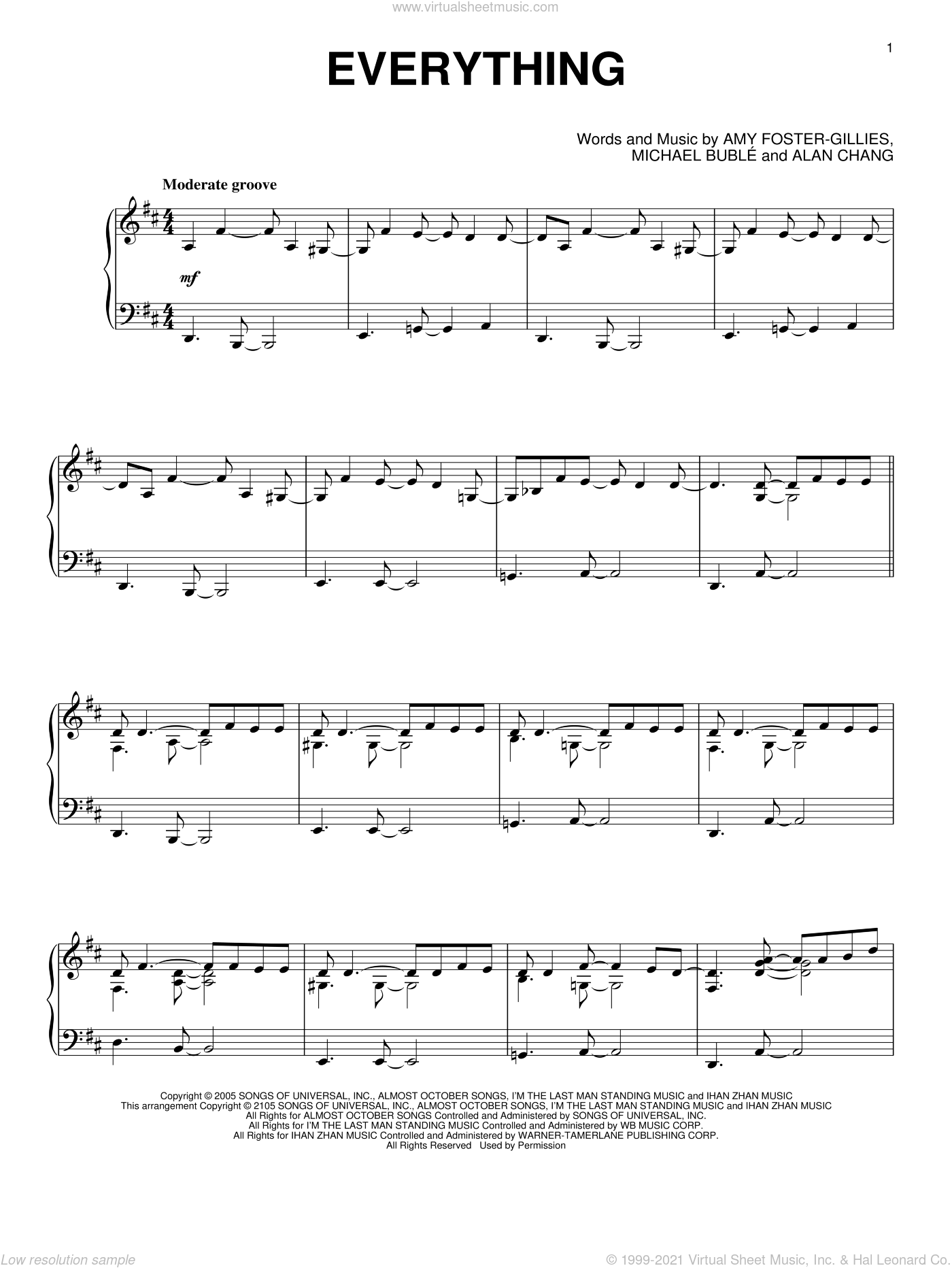 Everything, (intermediate) sheet music for piano solo by Michael Buble, Alan Chang and Amy Foster-Gillies, wedding score, intermediate skill level