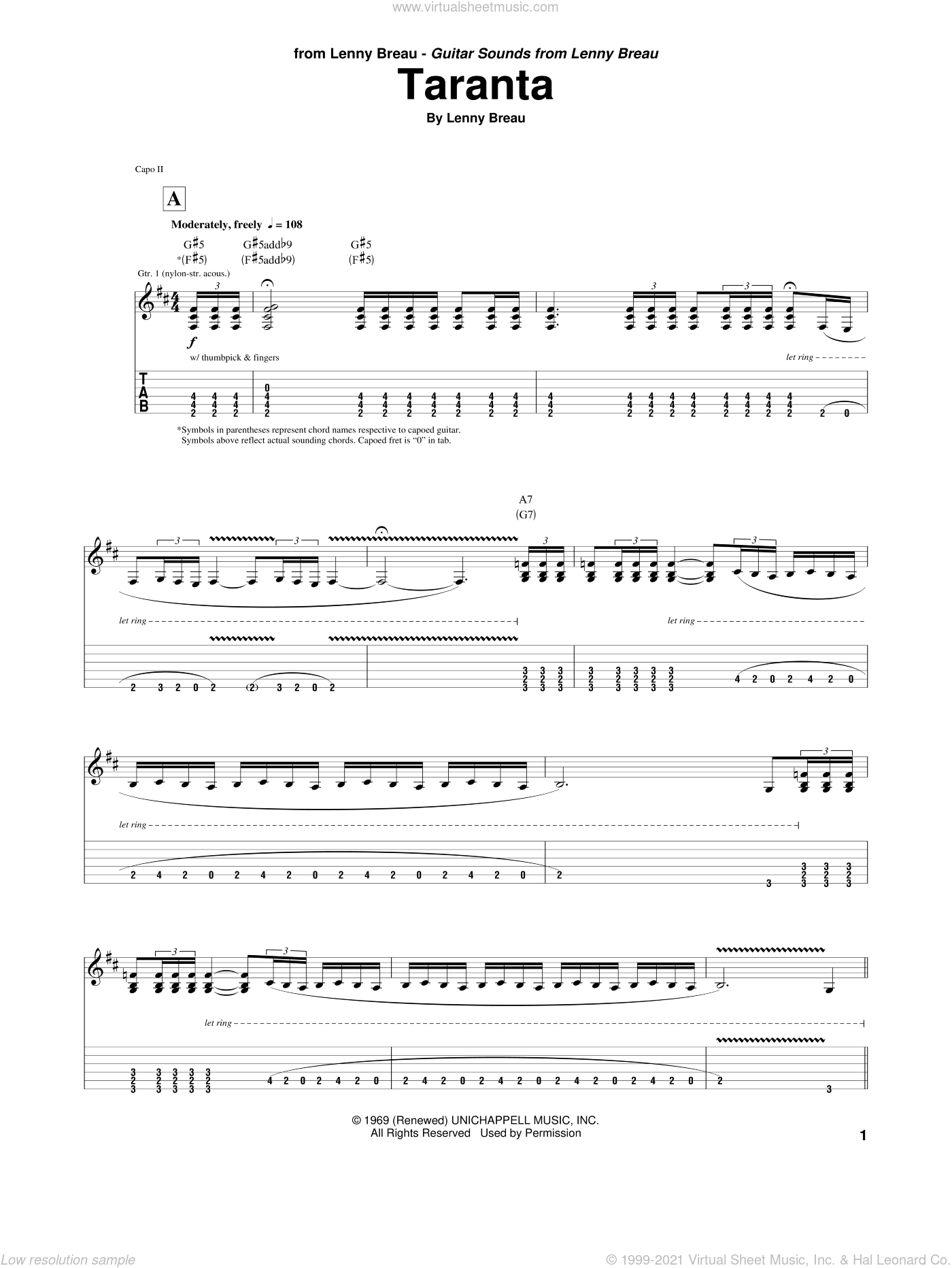 Taranta sheet music for guitar (tablature) by Lenny Breau, intermediate. Score Image Preview.