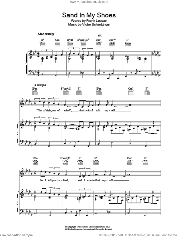 Sand In My Shoes sheet music for voice, piano or guitar by Frank Loesser and Victor Schertzinger, intermediate skill level