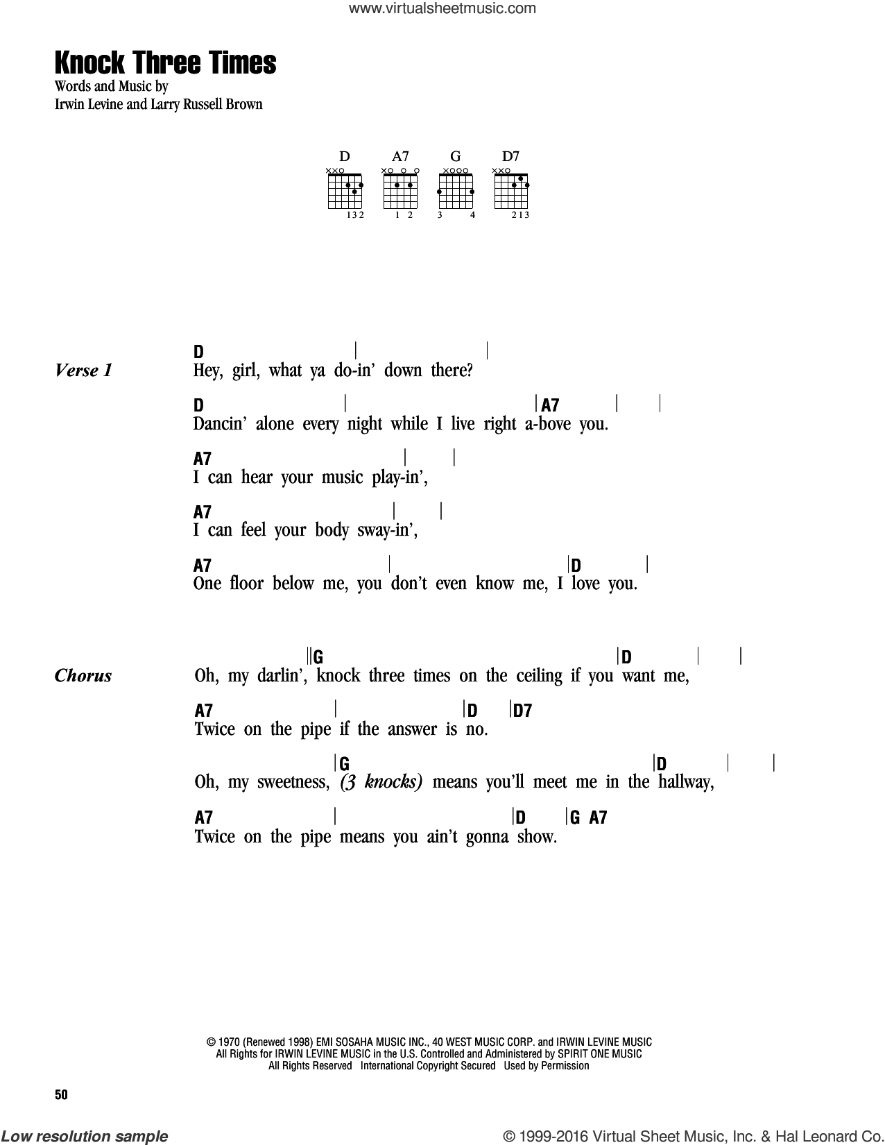 Knock Three Times sheet music for guitar (chords) by Dawn and Irwin Levine, intermediate guitar (chords). Score Image Preview.
