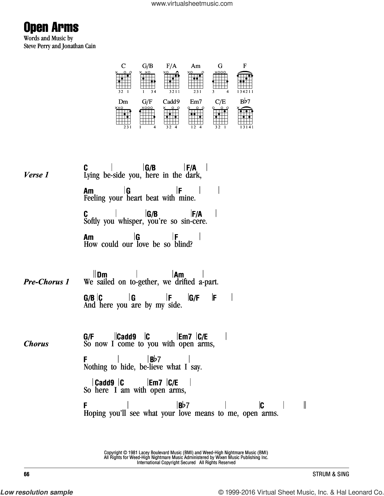 Open Arms sheet music for guitar (chords) by Journey, Mariah Carey, Jonathan Cain and Steve Perry, intermediate skill level
