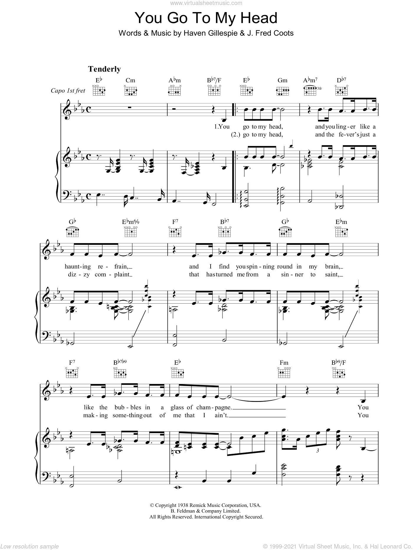 You Go To My Head sheet music for voice, piano or guitar by J. Fred Coots, Frank Sinatra and Haven Gillespie. Score Image Preview.