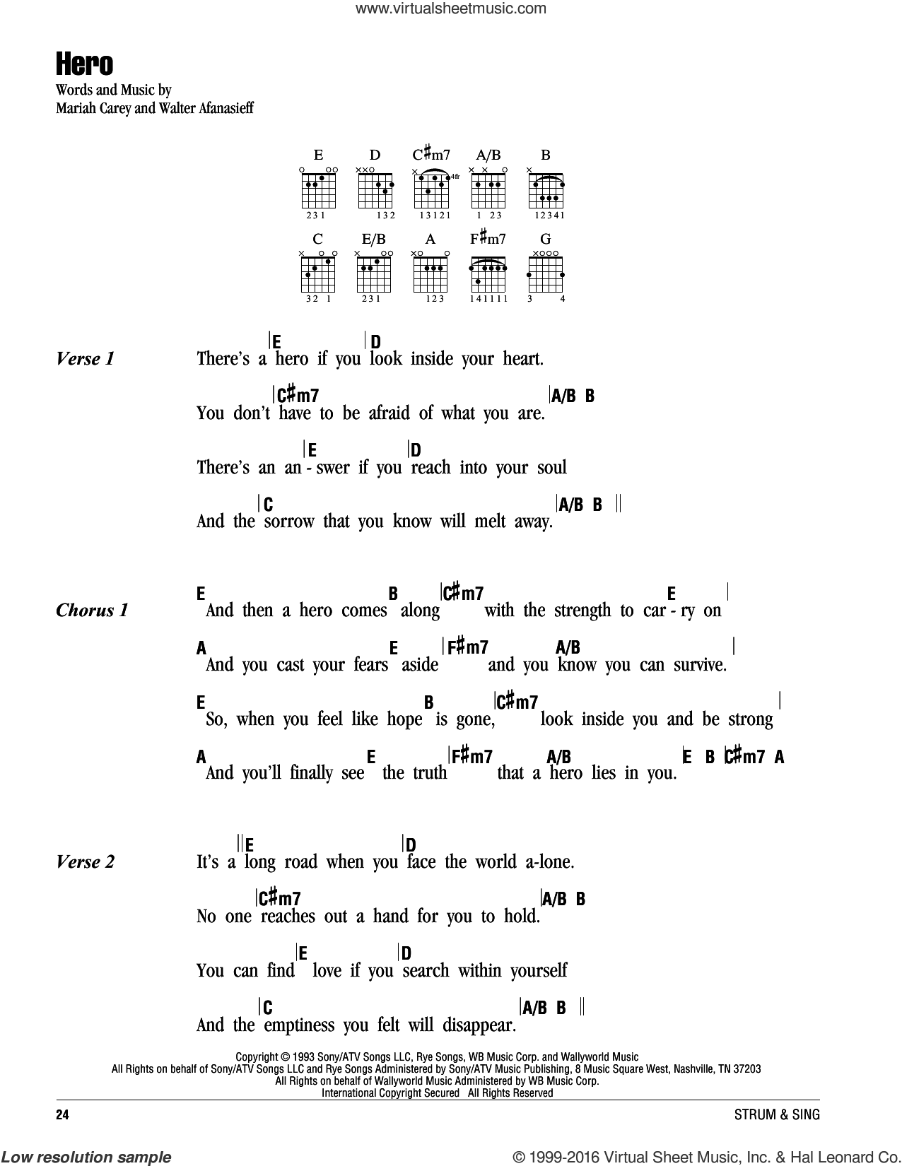 Hero sheet music for guitar (chords) by Walter Afanasieff and Mariah Carey. Score Image Preview.
