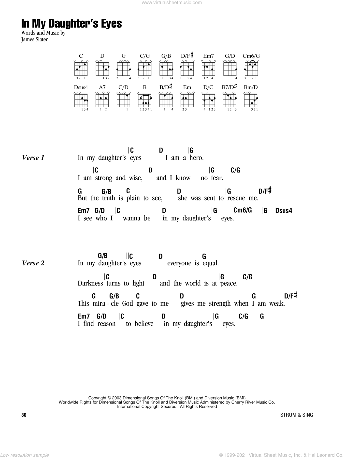 In My Daughter's Eyes sheet music for guitar (chords) by Martina McBride and James T. Slater, wedding score, intermediate skill level