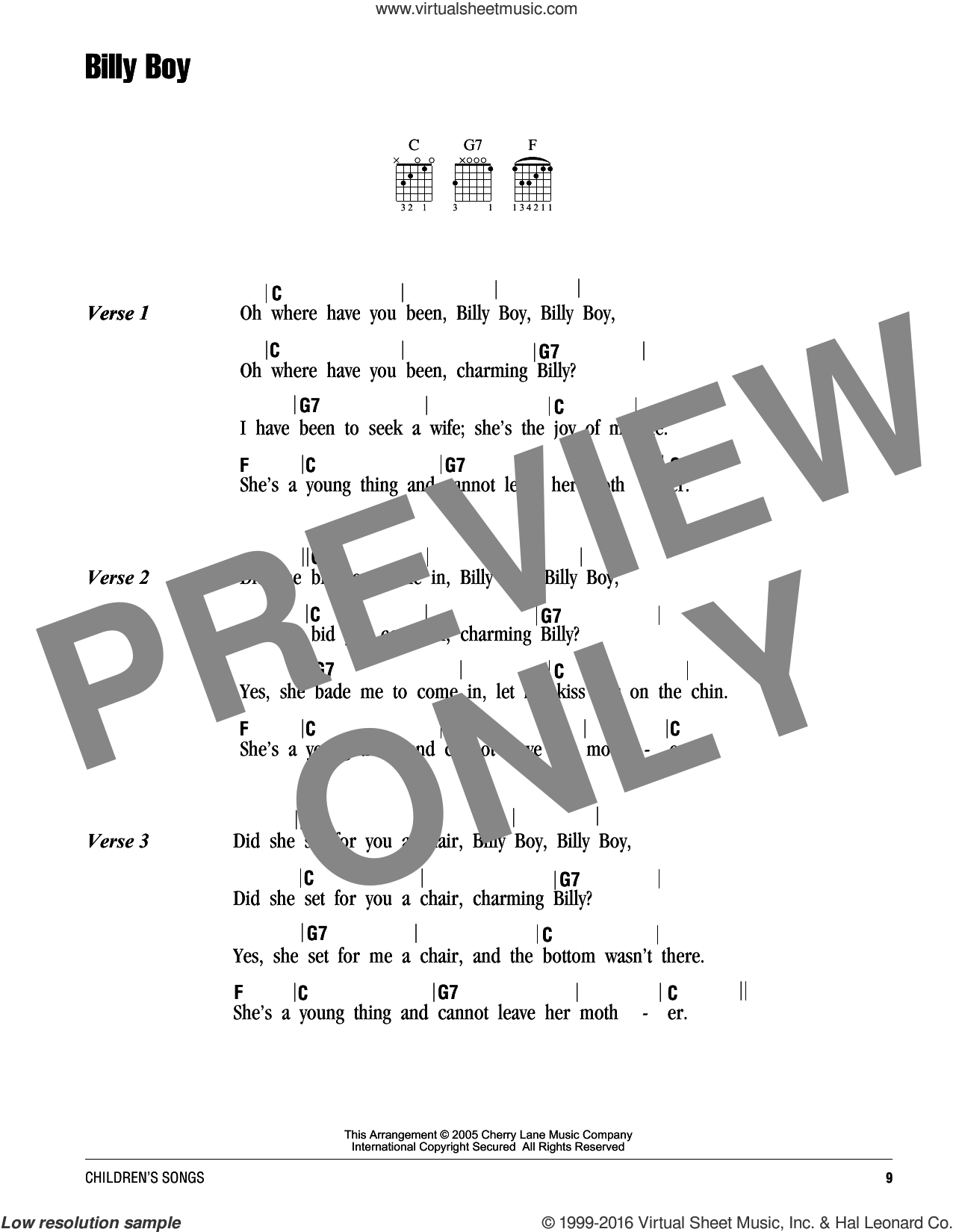 Billy Boy sheet music for guitar (chords). Score Image Preview.