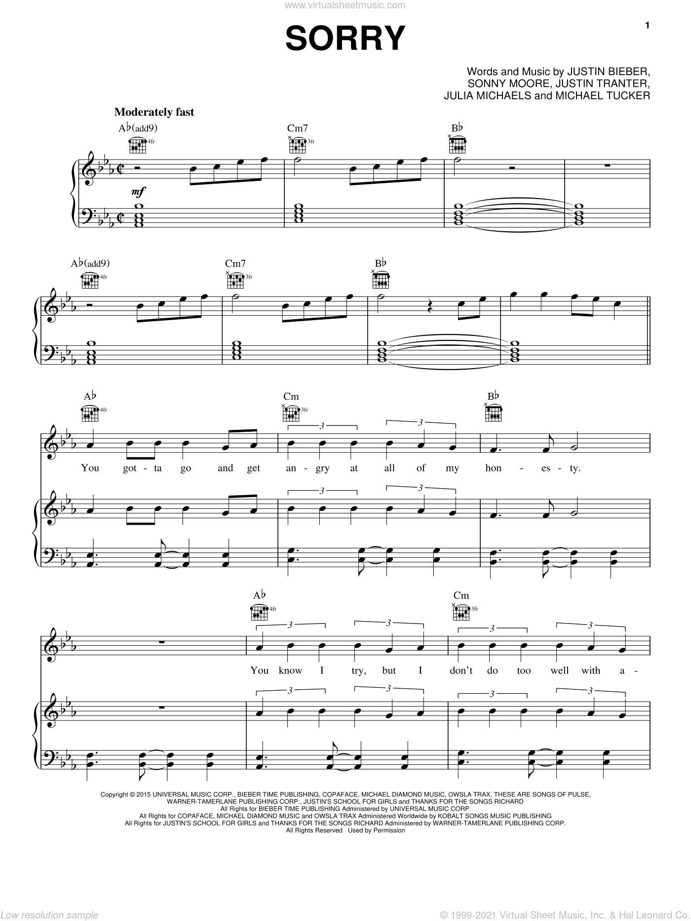 Sorry sheet music for voice, piano or guitar by Justin Bieber, Julia Michaels, Justin Beiber, Justin Tranter, Michael Tucker and Sonny Moore, intermediate. Score Image Preview.