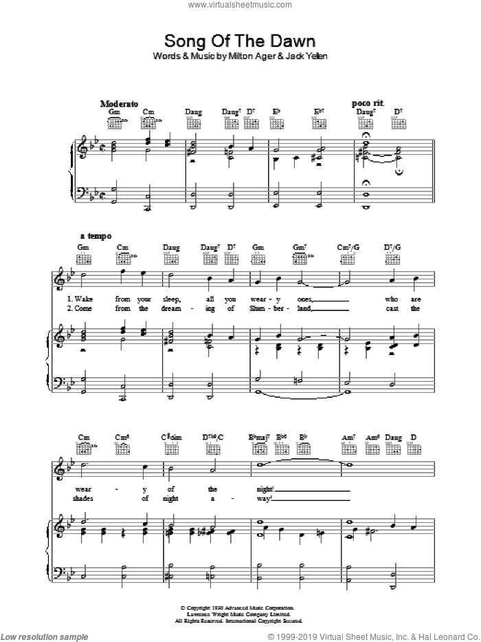 Song Of The Dawn sheet music for voice, piano or guitar by Jack Yellen