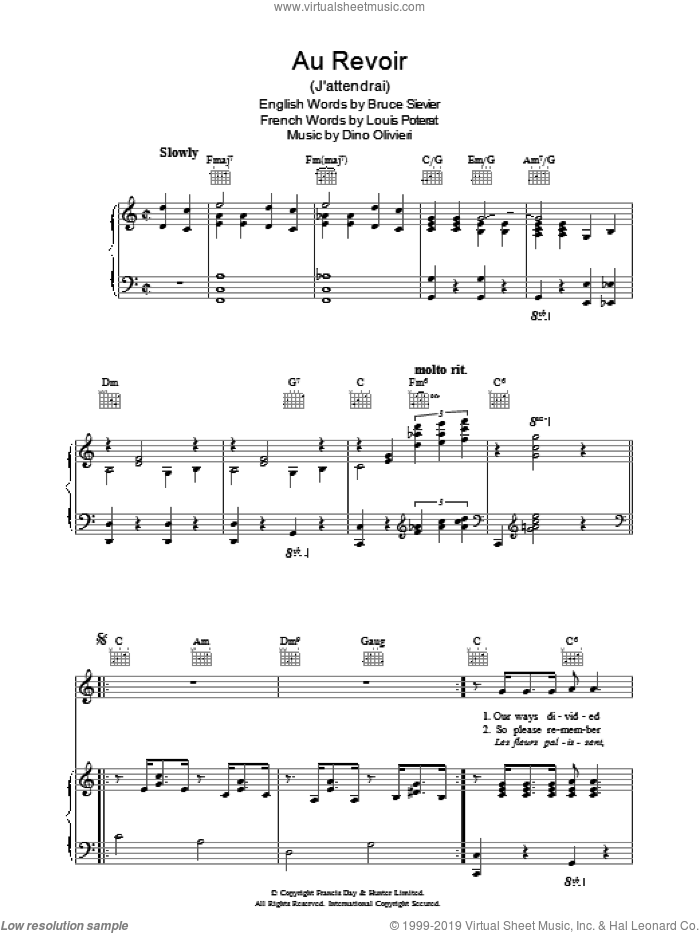 Au Revoir sheet music for voice, piano or guitar by R. Bruce Sievier. Score Image Preview.