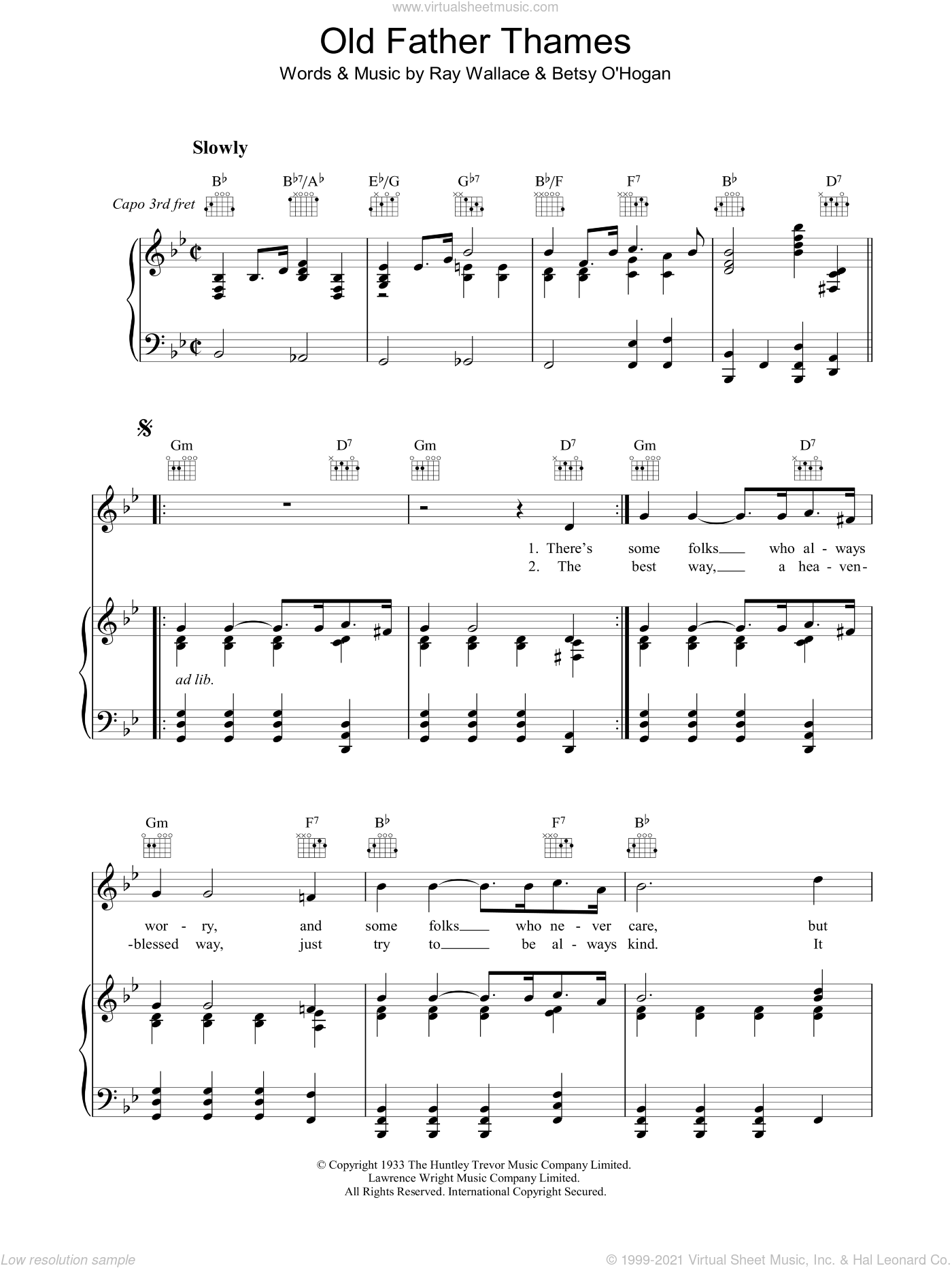 Old Father Thames (Keep Rolling Along ) sheet music for voice, piano or guitar by Raymond Wallace, intermediate skill level