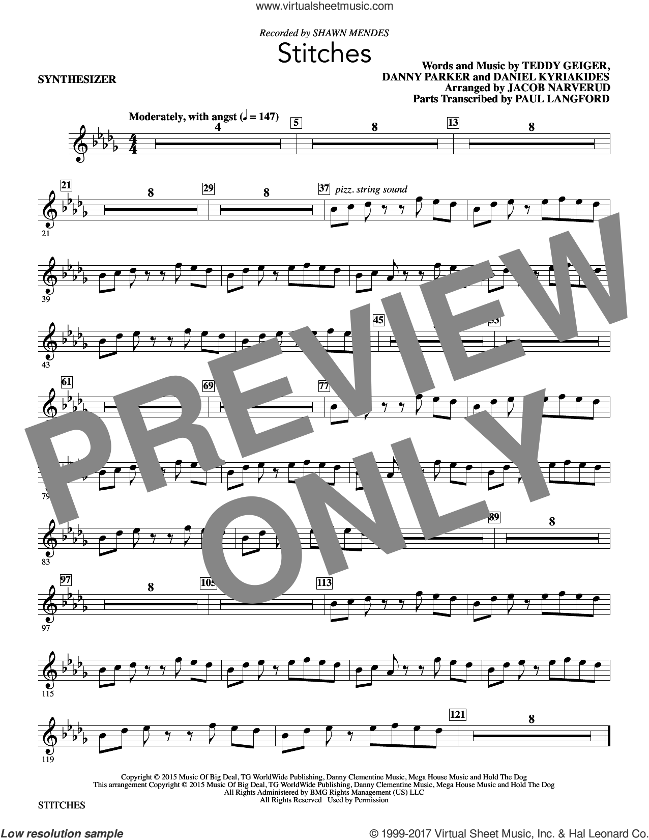 Stitches (complete set of parts) sheet music for orchestra/band by Shawn Mendes, Daniel Kyriakides, Danny Parker, Jacob Narverud and Teddy Geiger, intermediate