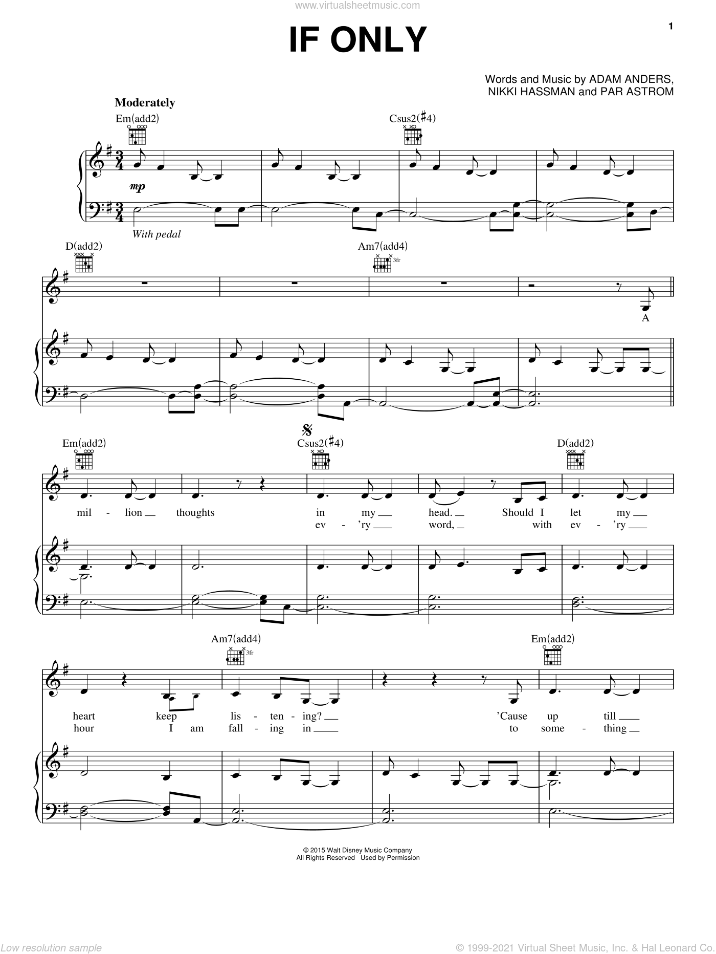 If Only sheet music for voice, piano or guitar by Par Astrom, Adam Anders and Nikki Hassman. Score Image Preview.