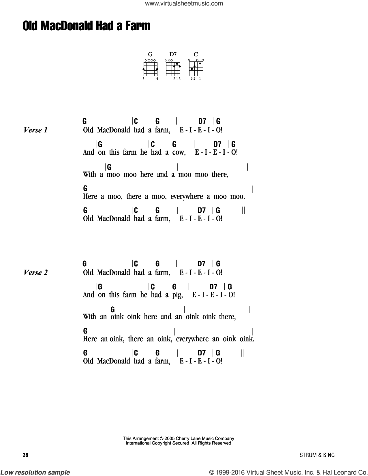 Old Macdonald Had A Farm sheet music for guitar (chords), intermediate
