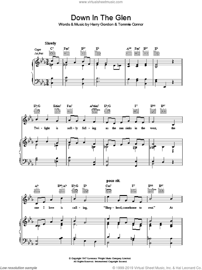 Down In The Glen sheet music for voice, piano or guitar by Tommie Connor