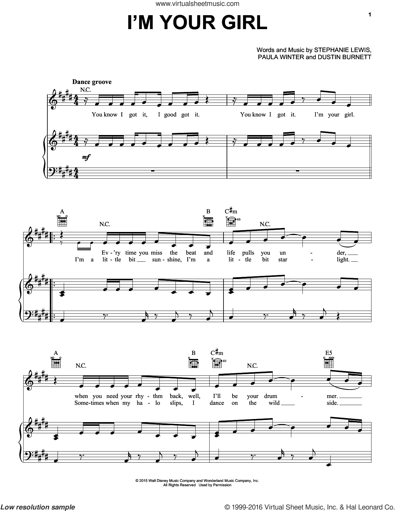 I'm Your Girl sheet music for voice, piano or guitar by Felicia Barton, Dustin Burnett, Paula Winger and Stephanie Lewis, intermediate skill level