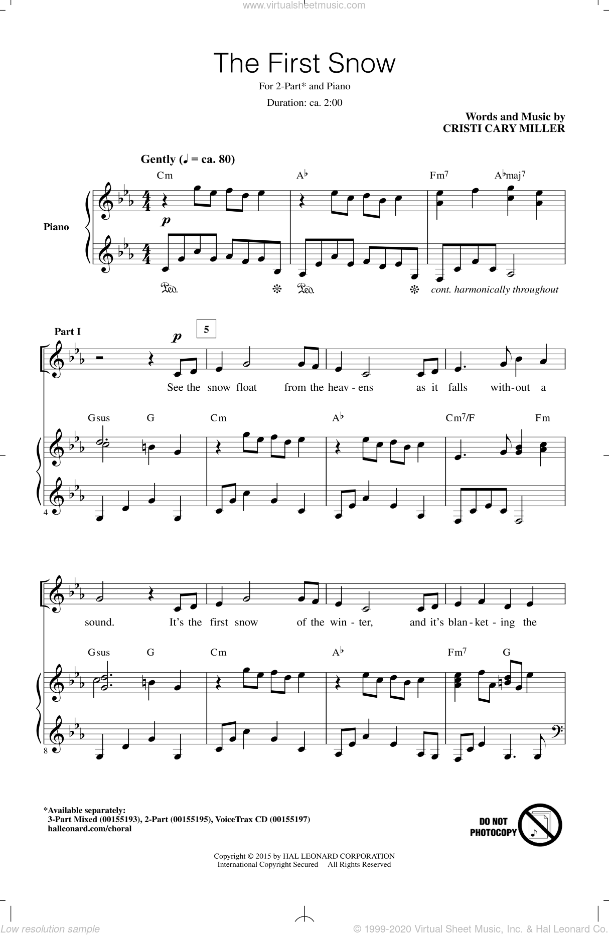 The First Snow sheet music for choir and piano (duets) by Cristi Cary Miller